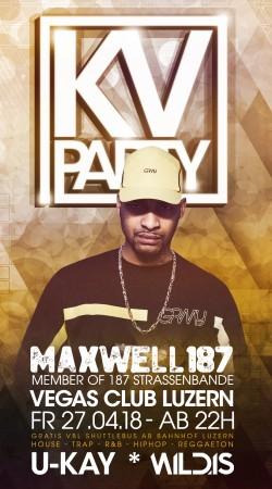 Flyer KV Party mit MAXWELL (187 Strassenbande)