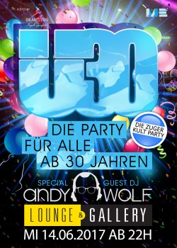 Flyer Ü30 Party Zug mit Andy Wolf