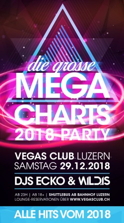Flyer Die Mega Charts Party 2018