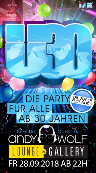 Flyer Ü30 Party Zug - Special Edition mit Andy Wolf
